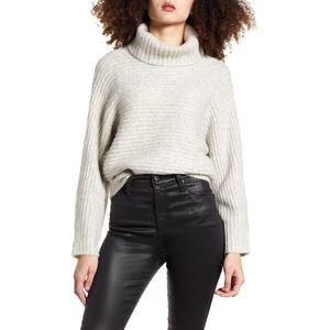 Leith Dolman Turtleneck Sweater Light Grey XS